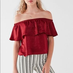 Urban Outfitters Winona Satin Off Shoulder Top